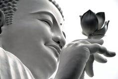 Framsida av en vit Buddha med en lotusblomma i hans hand, Dalat, Vietnam Royaltyfria Bilder