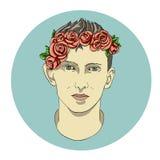 Framsida av pojken i blommor Arkivbild