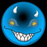 Framsida 2d för vektoremojismiley för lyckliga emoticons för elakt troll för halloween gigantiska smilling eps jäkelrackarunge re stock illustrationer