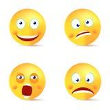 Framsida för gäspning för Smiley vektoruppsättning lycklig galen stock illustrationer