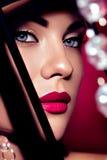 Framsida för kvinna för skönhetmodemodell Arkivfoton