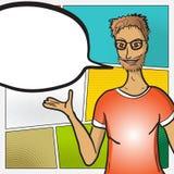 Framsida för man för popkonst med den komiska anförandebubblan Arkivfoton