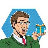 Framsida för man för popkonst stock illustrationer