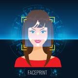 Framsida för ` s för kvinna för scanning för teknologi för vektorframsidaerkännande eller Faceprint med abstrakt Techbakgrund stock illustrationer
