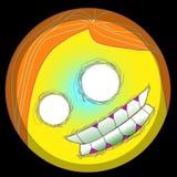 Framsida för smiley för emoji för vektor för allhelgonaafton för popkonst för emojien Clipart 2d eps för gigantiska emoticons för vektor illustrationer