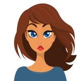 Framsida för unga kvinnor för tecknad filmbrunett också vektor för coreldrawillustration royaltyfri illustrationer