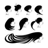 Framsida för profil för kvinna` s med olika hairdresses Arkivfoto