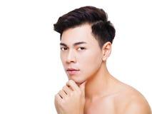 Framsida för ung man för Closeup charmig Fotografering för Bildbyråer
