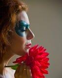 Framsida-konst stående av en härlig kvinna Royaltyfria Bilder