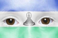 Framsida med den Lesotho flaggan Royaltyfri Bild