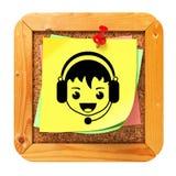 Framsida med hörlurar med mikrofonsymbolen på anslagstavlan Royaltyfria Bilder