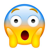 Framsida som skriker i skräck Skrika i skräck Emoji vektor illustrationer