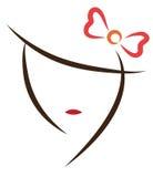 framsida stylized kvinna stock illustrationer