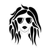 Framsidakontur för ung kvinna Hand tecknad vektorillustration vektor illustrationer