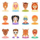 Framsidamålarfärg lurar vektorbarnståenden med ansiktsbehandlingen målade makeup- och flicka- eller pojketeckenet med färgrikt an stock illustrationer