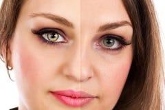 Framsidan av den härliga kvinnan retuscherar före och efter arkivfoto