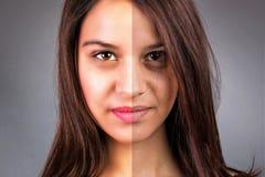 Framsidan av den härliga unga kvinnan retuscherar före och efter royaltyfria foton