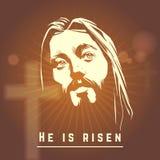 Framsidan av Jesus med är han uppstigen text Påsk stock illustrationer