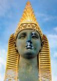 Framsidan av sfinxen på den egyptiska bron i St Petersburg Arkivfoton