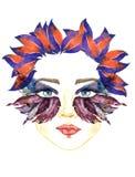 Framsidan med den blåa fen synar med makeup, blått, och formar purpurfärgade vingar för mörker av fjärilen ögonskuggor, knubbiga  royaltyfri illustrationer