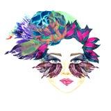 Framsidan med den blåa fen synar med makeup, blått, och lilafjärilsvingar formar ögonskuggor, knubbiga kanter, blom- abstrakt fri vektor illustrationer