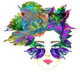 Framsidan med den gröna fen synar med makeup, blått, och ögonskuggor för form för turkosfjärilsvingar ser som maskeringen, blom-  royaltyfri illustrationer