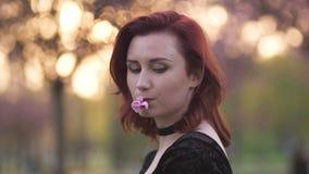 Framsidast?endeslut upp - den lyckliga unga loppdansarekvinnan som tycker om fri tid i sakura en k?rsb?rsr?d blomning, parkerar - lager videofilmer