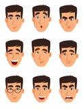 Framsidauttryck av en affärsman Olik manlig sinnesrörelseuppsättning vektor illustrationer