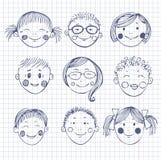 Framsidor av barn vektor illustrationer