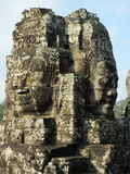 Framsidor av Bayon tample Ankor Wat cambodia Royaltyfri Fotografi