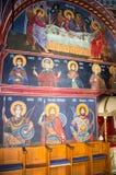 Framsidor av de heliga apostlarna i den vägg- målningen i templet i kloster Rezevici i Montenegro Royaltyfri Fotografi