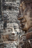 Framsidor av den Bayon templet Cambodja Royaltyfria Bilder