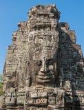 Framsidor av det Bayon tempelet, Angkor, Cambodja Arkivbilder