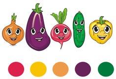 Framsidor av grönsaker med rundor royaltyfri illustrationer