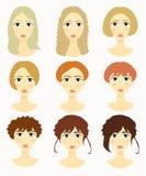 Framsidor av kvinnor, flickafrisyrer också vektor för coreldrawillustration Arkivbilder