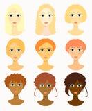 Framsidor av kvinnor, flickafrisyrlopp också vektor för coreldrawillustration Arkivfoton