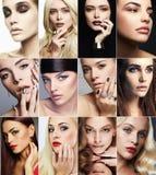 Framsidor av kvinnor Framsidor av kvinnor Makeupflickor Arkivfoto