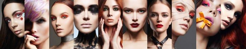 Framsidor av kvinnor Kvinnor Härlig flickamosaik för makeup arkivbilder