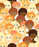 Framsidor av kvinnor, naturliga flickor seamless vektor för illustration Arkivbild