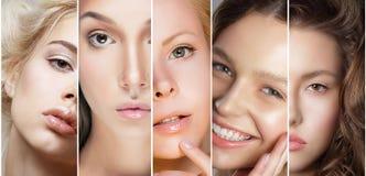 Framsidor av kvinnor Uppsättning av kvinnors framsidor med olikt smink Arkivfoto