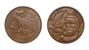 Framsidor för för fem cent brasilianska verkliga myntframdel och baksida Royaltyfria Foton