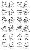 Framsidor för uppsättning för tecknad filmtecken lyckliga och roliga - vektor illustrationer