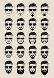 Framsidor med skägget, användare, avatar, vektorsymbolsuppsättning Royaltyfri Fotografi