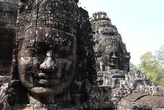 Framsidorna av den Bayon templet Royaltyfria Foton