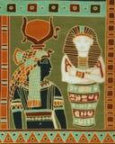 Framställning av egyptiska pharaohs på textilen för sjaletter för kvinna` s Royaltyfria Bilder