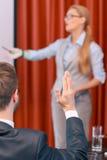 Framställning av en presentation på mötet arkivfoto