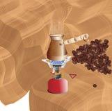 Framställning av morgonkaffe på en bärbar gasgasbrännare stock illustrationer