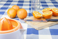 Framställning av orange fruktsafter Royaltyfri Fotografi