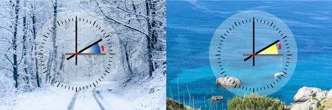 Framställning av vintertid vs sommartid, Arkivfoton