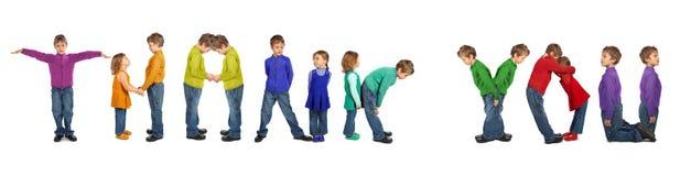 framställning för pojkecollageflicka tackar ord dig Royaltyfria Foton